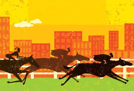 Business people horse racing Illustration