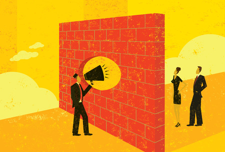 Shouting through a brick wall Ilustrace