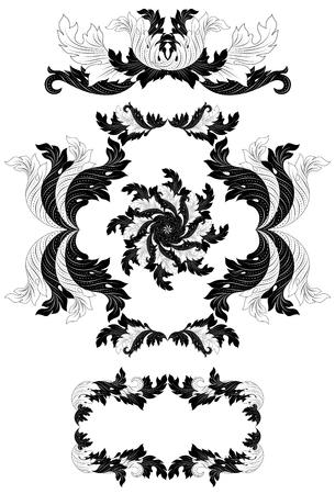 Gedetailleerde Bloemen Ornamenten Stock Illustratie