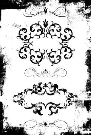 Distressed Floral Scrolls