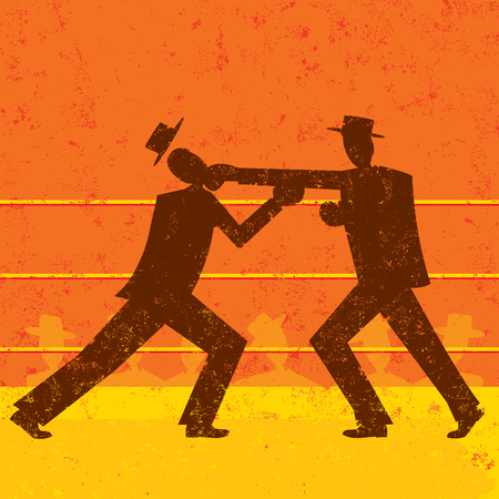 Businessmen boxing match Ilustrace