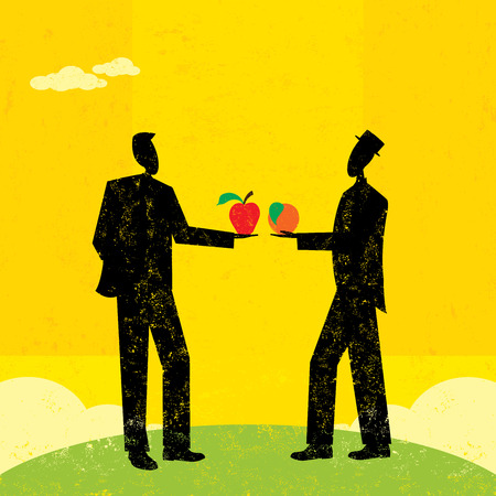 comparing: Comparing Apples and Oranges Illustration