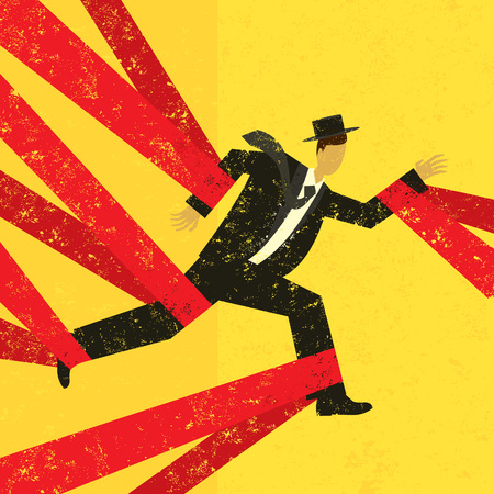 man trapped: Caught in Red Tape Illustration