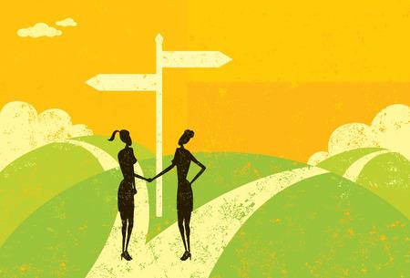 fork in path: Businesswomen Parting Ways