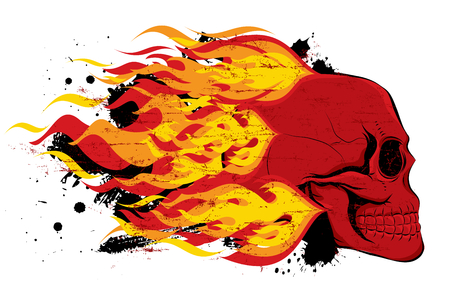 Red skull with flames