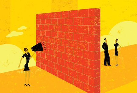 miscommunication: Shouting at a brick wall Illustration