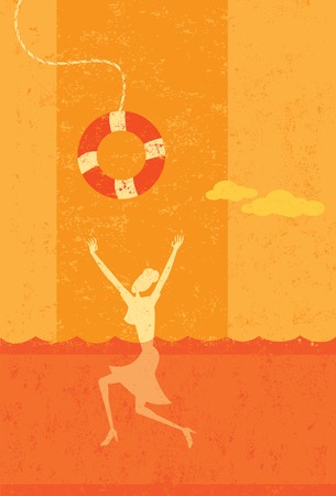 drowning: Drowning businesswoman being saved from bankruptcy Illustration