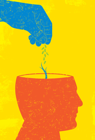 Planting seeds in the mind Illustration