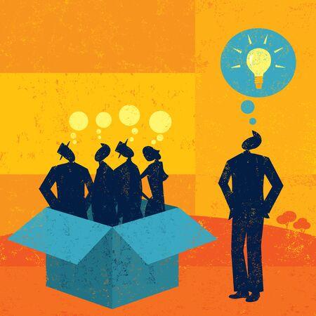 thinking outside the box: Thinking outside the box Illustration