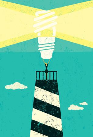 Energy conservation lighthouse Ilustrace
