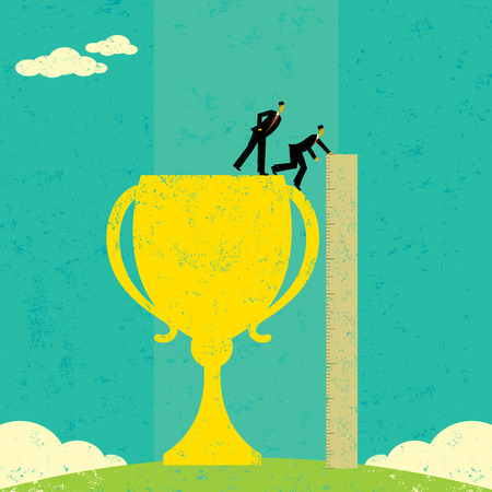 Businessmen measuring success Ilustrace