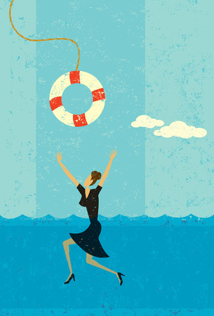 Drowning businesswoman being saved