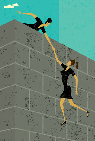 Vector illustration of girl pulling up another girl.