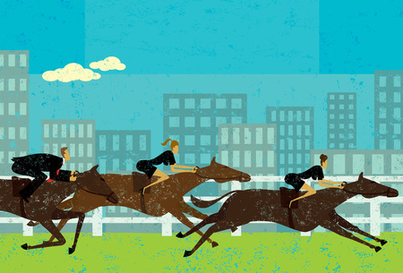 Business people horse racing Ilustrace