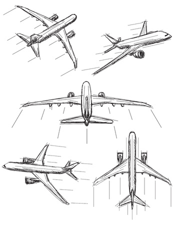Jet airplane sketches Фото со стока - 100999274