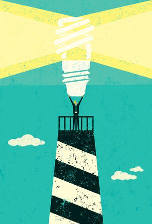 Energy conservation lighthouse banner design Ilustrace