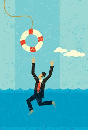 Drowning businessman being saved banner design Reklamní fotografie - 100999292