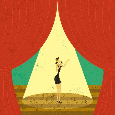 Singer on stage banner design Ilustrace