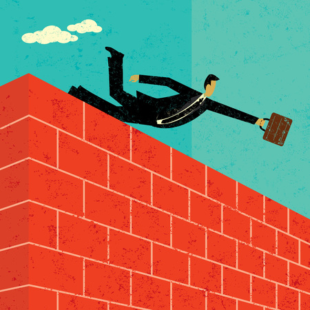 Jumping over a brick wall banner design