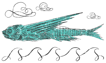 Flying fish with calligraphic line art Çizim