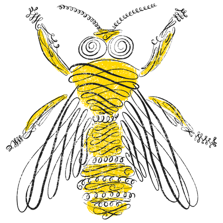 Bee with calligraphic line art