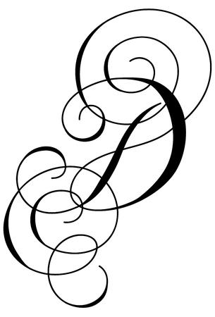 Calligraphy line art letter D