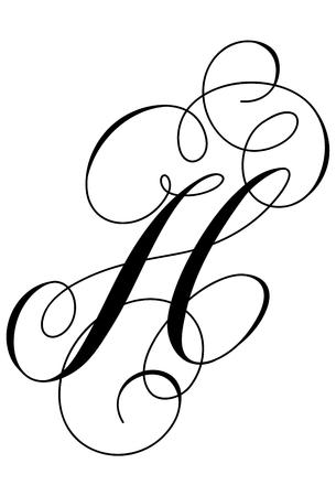 Calligraphy alphabet letter H Ilustracja