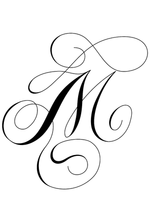Calligraphy alphabet letter M Ilustracja
