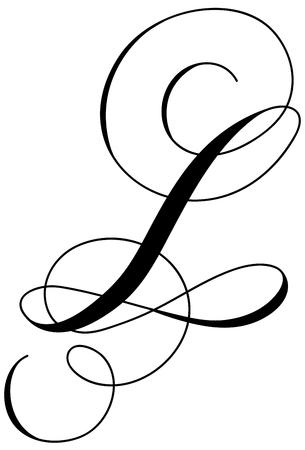 Calligraphy alphabet letter L Ilustração