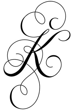 Calligraphy alphabet letter K