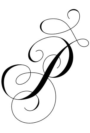 A calligraphic line art letter P Illusztráció