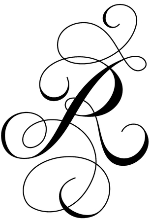 A calligraphic line art letter R
