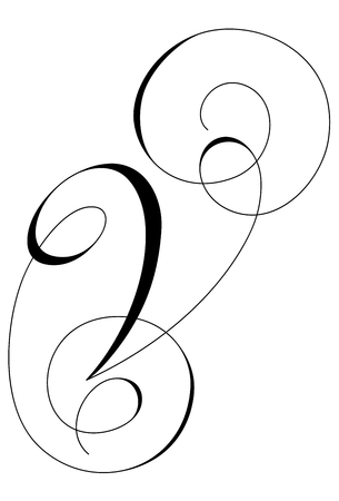 A calligraphic line art letter V