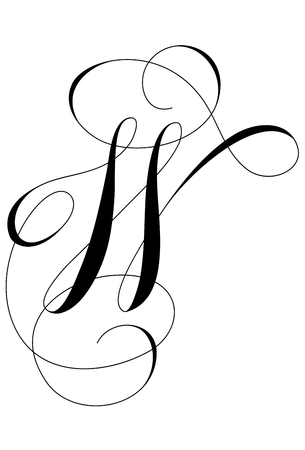 A calligraphic line art letter W
