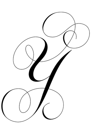 A calligraphic line art letter Y