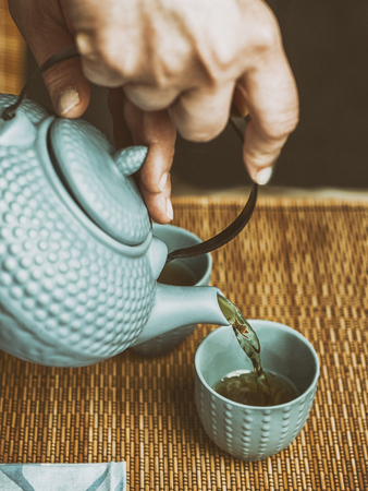 refinement: Japanese tea ceremony uses leaf tea, primarily sencha. Stock Photo