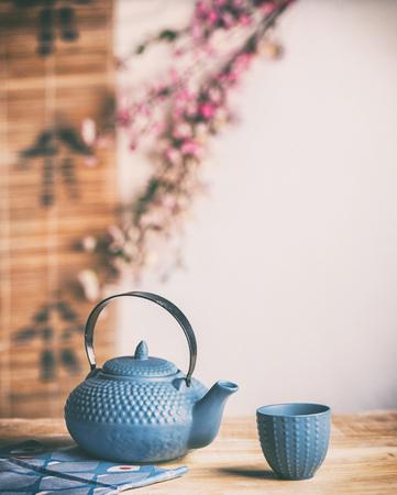Japanese tea ceremony uses leaf tea, primarily sencha. Stock Photo