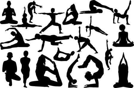 Yoga illustration Silhouettes  isolated on white Illustration