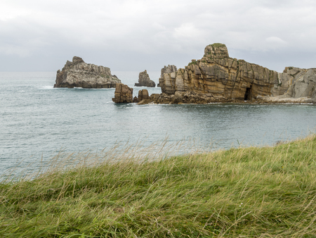 Cliffs and reefs on the Cantabrian coast in Spain
