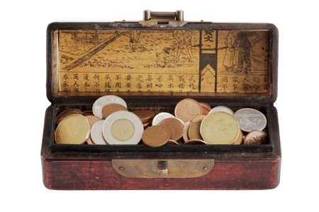 Chinese varnished chest full of coins - isolated on white photo