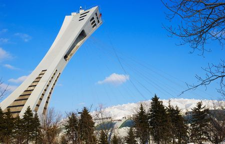 olympic game: The tower and kevlar suspended roof of the Olympic Stadium of Montreal, Quebec