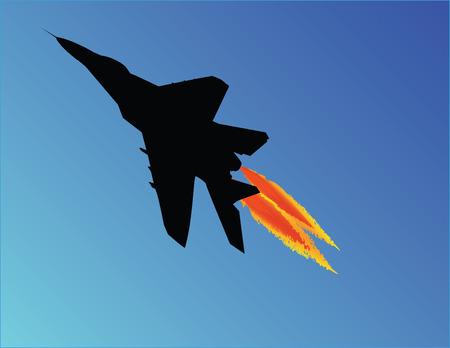 mig: Vector illustration of MIG fighter jet taking off