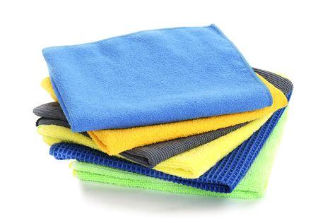 Pile of various multicolor microfibre cloths photo
