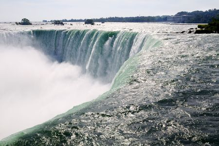 the edge of horseshoe falls: Close-up picture of the Canadian part of Niagara falls