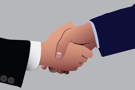 Two business dressed men shaking hands vector illustration Illustration