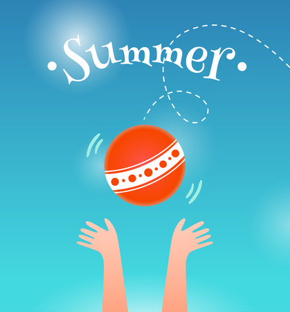 summer sky: Child hands catching the ball on summer sky background  Illustration
