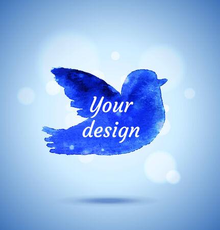 Watercolor blue bird background  illustration  Ilustração