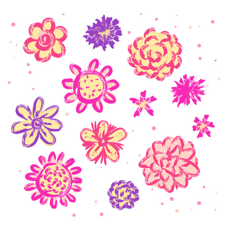 Doodle sketch flowers isolated Vector