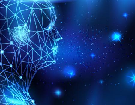 Conceptual technological background with human head Reklamní fotografie - 30046708