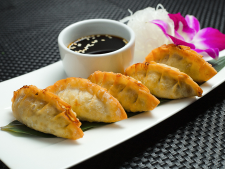 Traditional asian pan fried gyoza dumplings with a dip sauce